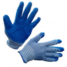 Перчатки синтетика облитые латексные МАТРОСКА (синий/белый) 12/960