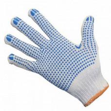 Перчатки КАМА х/б 5 нитей с ПВХ белые 10/200
